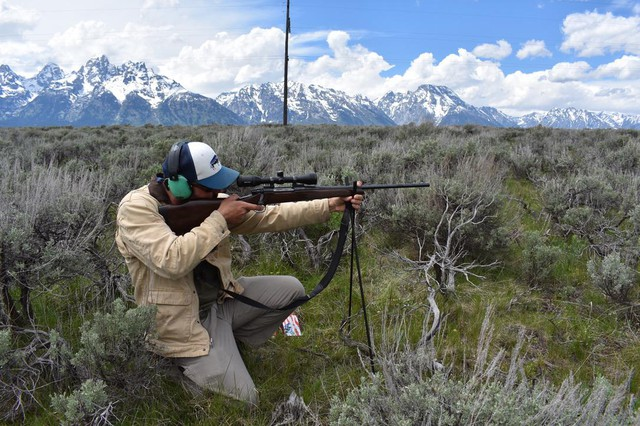 Brian Bedrosian, a bird researcher at the Teton Raptor Center, puts on a shooting demonstration near Grand Teton National Park in Wyoming. Bedrosian has studied the effect of lead ammunition on eagles and says voluntary programs can convince hunters to employ more environmentally friendly practices.