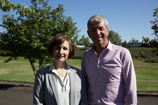 Reps. Suzanne Bonamici and Kurt Schrader spoke to reporters in Keizer, Ore., shortly after meeting with administrators at Chemawa Indian School, Aug. 1 2019.