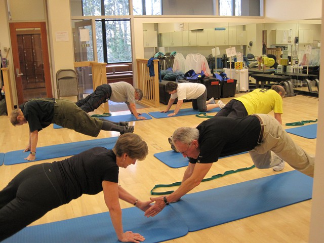 "Martin (Marty) and Sarah Horeis participate in the ""Exercising Together"" class run by OHSU research professor Kerri Winters-Stone. Marty is 76 and Sarah is 71."