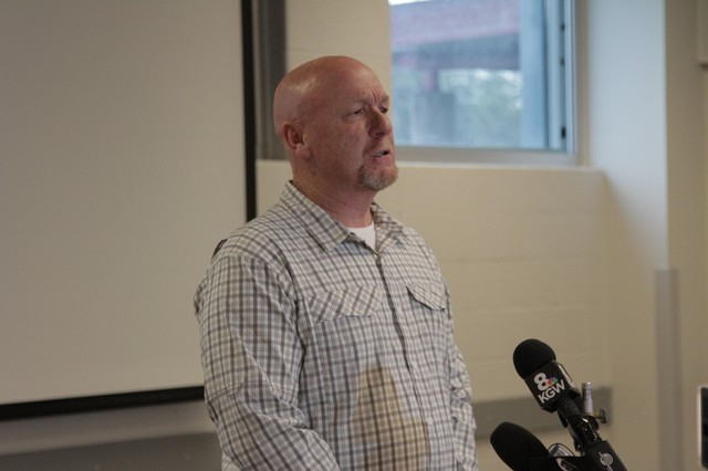 Helping Hands Reentry Outreach Centers founder and CEO Alan Evans speaks at Wapato Jail in North Portland on Dec. 13, 2019.