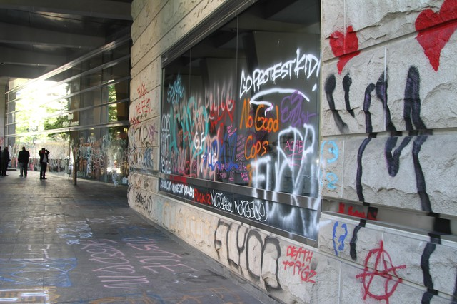 The federal courthouse in downtown Portland was blitzed with graffiti during the demonstrations.