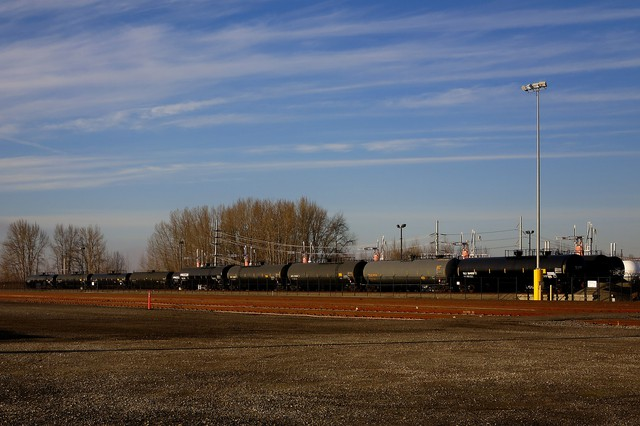 The railroad tracks at the Port of Vancouver where oil would be off loaded.
