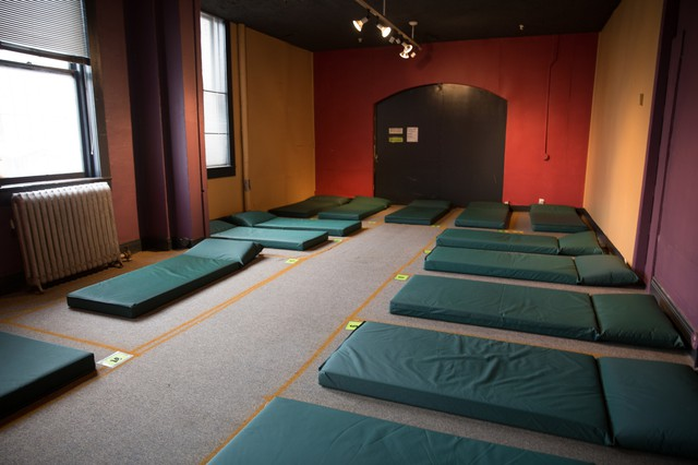 A room filled with sleeping mats at the new temporary location of the Columbia Shelter on SE Grand Ave.