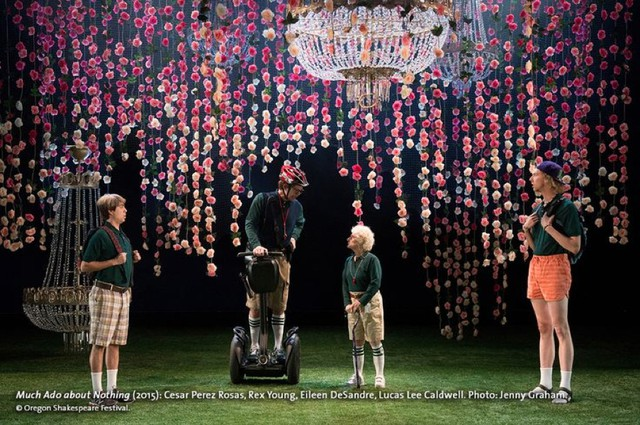 """Furthering the argument that all Shakespeare productions are adaptations of some kind, the Oregon Shakespeare Festival's current production of """"Much Ado About Nothing"""" includes contemporary costumes, hip hop, and a Segway."""