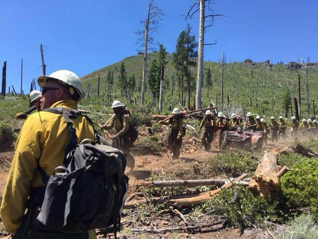 A hand crew moves to a new section of line on the south flank of the Ana Fire near Summer Lake, Oregon, on Wednesday, July 12, 2017.