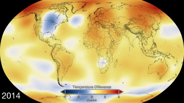 2014 Global temperature anomaly map. Image Credit: NASA's Goddard Space Flight Center