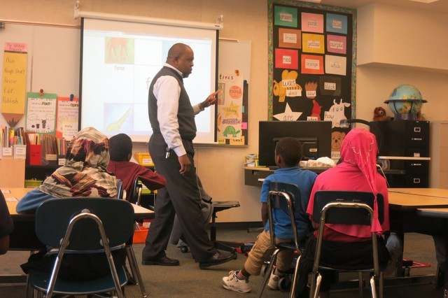 Salaad O'Barrow teaches a Somali language class at Rosa Parks Elementary School in North Portland.