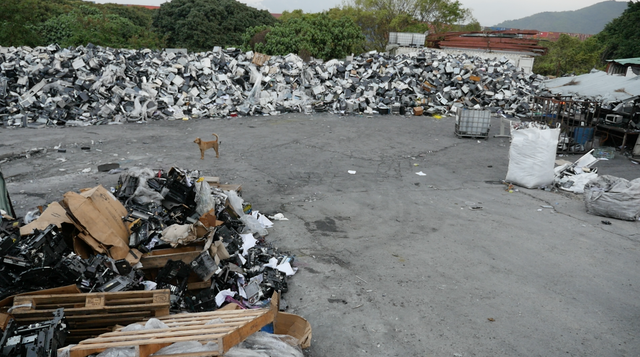 A tracking device inside an old printer led the Basel Action Network to this scrapyard in rural Hong Kong.