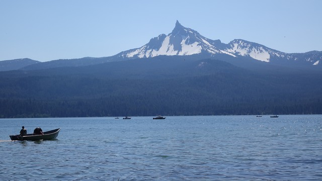 Diamond Lake is a top trout fishing destination in the Pacific Northwest.
