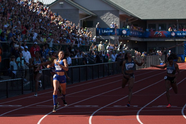 Olympic veteran Allyson Felix breaks through the shadow of the Hayward Field grandstand to take first place in the women's 400-meters in 2016.It was the fastest400of the yearat that point.