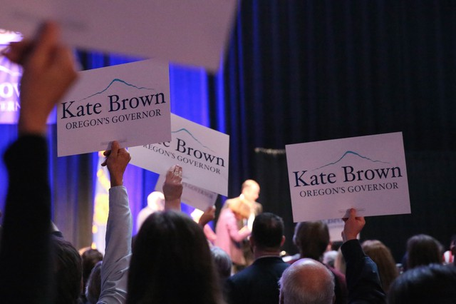 Kate Brown supporters celebrate her win in the 2016 general election.