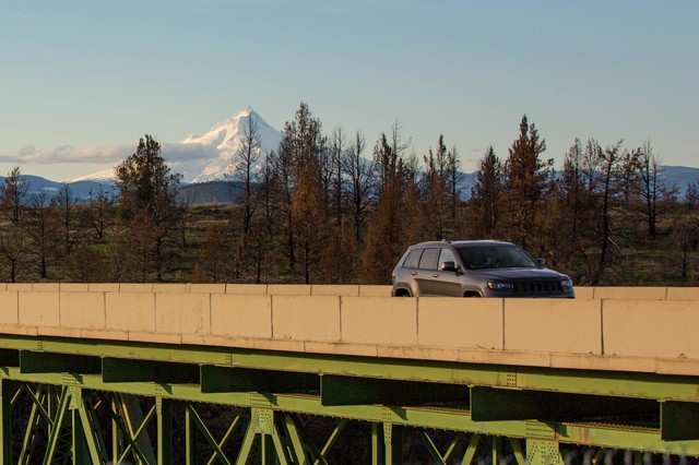 A car crosses the Mill Creek Bridge on the Warm Springs Indian Reservation in Central Oregon.