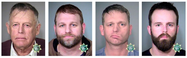 FILE - This undated combination of file photos provided by the Multnomah County, Ore., Sheriff's Office shows from left; Nevada rancher Cliven Bundy and his sons Ammon Bundy and Ryan Bundy and co-defendant Ryan Payne. There is talk of a possible mistrial in the prosecution of the defendants accused of leading an armed standoff that stopped a federal roundup of cattle in Nevada in 2014. Proceedings are scheduled to resume Wednesday, Dec. 20, 2017, in federal court in Las Vegas for Cliven, Ryan and Ammon Bundy and Payne amid defense allegations that prosecutors and government agents failed to properly turn over evidence before trial began in November.