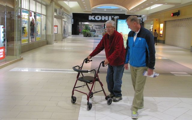 State Sen. Doug Ericksen, R-Ferndale, takes a morning walk with his father, Len, at the Bellis Fair mall in Bellingham.  More than $200,000 of the campaign money being spent to unseat Ericksen can be traced to climate activist and billionaire Tom Steyer.