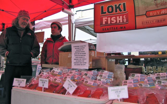 """Pete Knutson and his son, Dylan, sell their wild-caught salmon at farmer's markets around Seattle. """"We had people passing on our fish this year. It was directly because they were worried about Fukushima."""""""