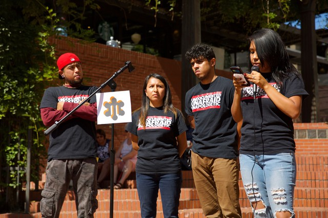 Liliana Luna (right) speaking at a press conference on DACA on Sept. 1, 2017.