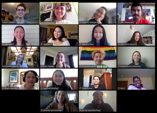Youth Activists working with 350PDX andOPAL'sYouth Environmental Justice Alliance, meet through ZOOM Conference App to help them communicate and shift gears for their Earth Day virtual rally.