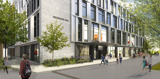 A rendering of the rebuilt Newberger Hall, by Hacker Architects.