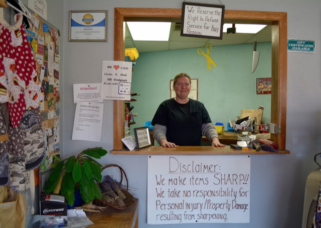 Harmonie Medlin-Bennett inside of her shop, Sharpening4U.