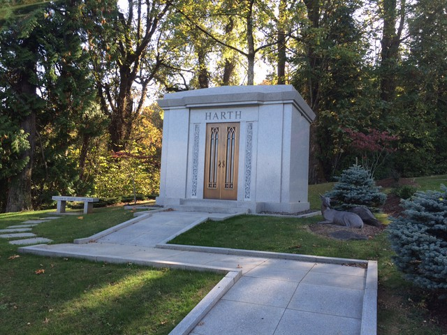 A family mausoleum at River View Cemetery.