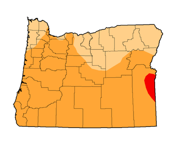 U.S Drought Monitor map of Oregon on January 14, 2014. Red indicates extreme drought; orange indicates severe drought, and light orange indicates moderate drought.