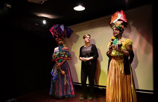 GeneviveRoundané (center) with two chunta dancers from her documentaryLas Chuntasabout the Fiesta Grande in Chiapa de Corzo, Mexico.