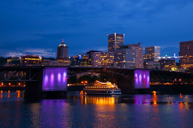 The Morrison Bridge in Portland was lit purple in honor of Prince. The pop icon died Thursday, April 21, 2016.