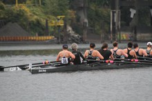 The Portland Women's Rowing 8+ competing in the Portland Fall Classic