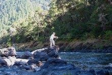 Dutch Henry Homestead owner Bradley Boyden fishes on the Rogue River.