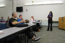 Hynes teaches a gambling prevention class to University of Oregon students.