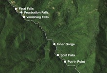 Locations of key points within the Salmon River Gorge.