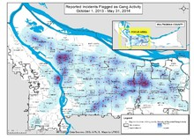 A new report on gangs in Multnomah County shows activity is moving east, but it has also declined as compared to activity 10 years ago. Click for larger image.