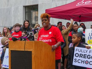 "Portland fourth-grade teacher Nichole Watson of Rosa Parks Elementary School told teachers and supporters gathered Monday, Feb. 18, 2019, in Salem that her students deserve ""my undivided attention."""