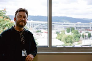 Paul Bubl teaches science at Harriet Tubman Middle School in Portland. His room has a view of the Fremont Bridge and Forest Park— and Interstate 5, if you look down.