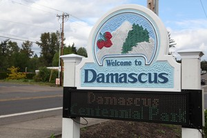 The Damascus sign along Highway 212, near Foster Road.