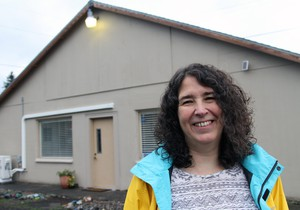 Kris Bella, co-founder of Arte Soleil, at the center on Southeast 122nd Avenue in Portland.