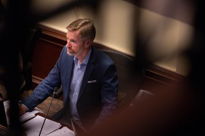 Portland Mayor Ted Wheeler listens to public testimony on April 4, 2019.