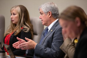 Sen. Cliff Bentz, R-Ontario, asks questions during the Senate Judiciary Committee work session for House Bill 2625 on April 30, 2019.