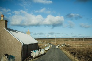 The road coming back from Braenis, the mobile library's farthest stop on the Uig run.