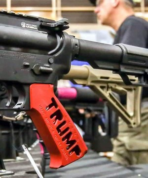 A March 10, 2018 file photo from the Crosshair Customs booth at the Pendleton Gun Show at the Pendleton Convention Center.