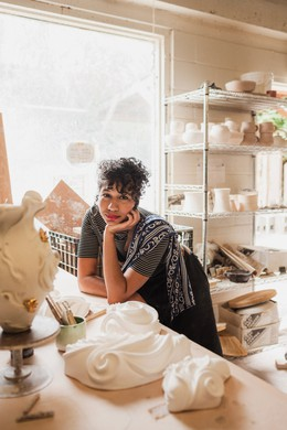"Ceramicist Maya Vivas was the first portrait in Celeste Noche's series, ""Portland in Color"". ""A magazine commissioned me to photograph creative women or femmes,"" Noche said. ""They cut Maya out of it and didn't tell me or them."" But when Noche later concived the series, she knew Vivas would be perfect."