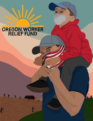 Illustrations released by the Oregon Worker Relief fund depict workers and families affected by the novel coronavirus pandemic.