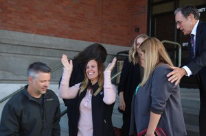 Josh Horner's family and fellow church members celebrated on the Deschutes County Courthouse steps after the case against him was dropped.