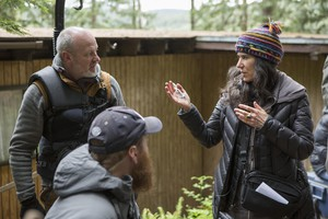"Debra Granik on the set of ""Leave No Trace."""