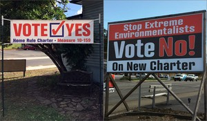 Home rule campaign signs have appeared around Roseburg, the largest city in Douglas County.