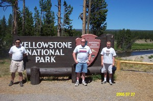 Rail advocates Jim Hamre (center) and Zack Willhoite (right) with fellow All Aboard Washington member Warren Yee at Yellowstone National Park in 2005.