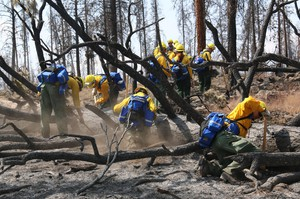 Crews from the Oregon National Guard work to clean up hotspots in the fight against the Canyon Creek Complex fire on Aug. 27, 2015.