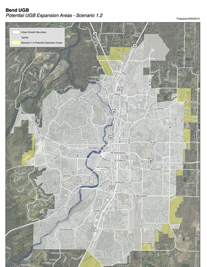 One of six possible expansion scenarios for Bend's Urban Growth Boundary.