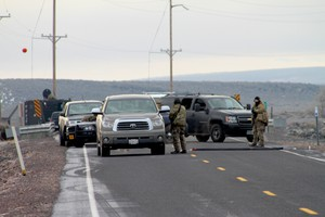 FBI officials said any vehicles approaching the checkpoints outside the refuge would be stopped and searched, and all occupants of the vehicles were to present identification.