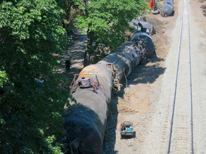 A 16-car oil train derailment caused a fire and left a small oil sheen on the Columbia River.